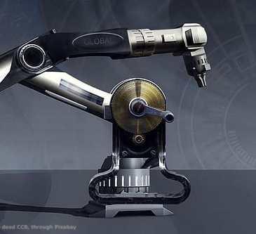 Un robot industriale. La perizia per l'iper-ammortamento e' il piatto forte del programma italiano Industria 4.0. Il programma riguarda parecchie tipologie di macchine ed impianti industriali.