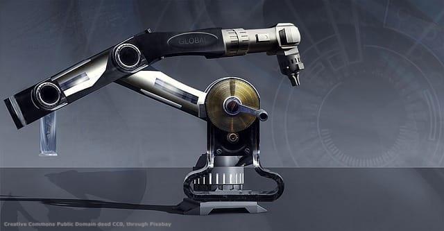 Un robot industriale. La perizia per l'iper-ammortamento e' il piatto forte del programma italiano Industria 4.0. Il programma riguarda parecchie tipologie di macchine ed impianti industriali